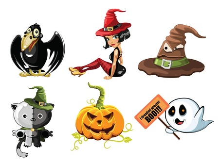 Stellen Sie f�r eine Halloween-Spa� Illustration