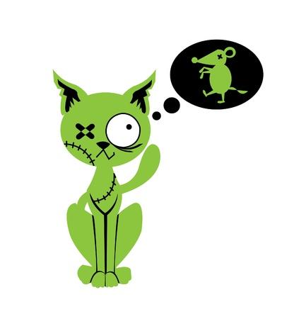 Zombie cat dreams of  zombie mouse
