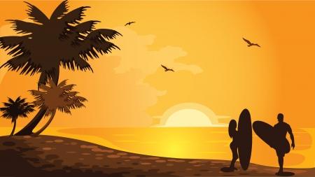 surfers: Beach vector Illustration