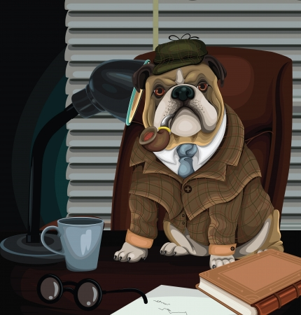 bloodhound: Bulldog Detective vector Illustration