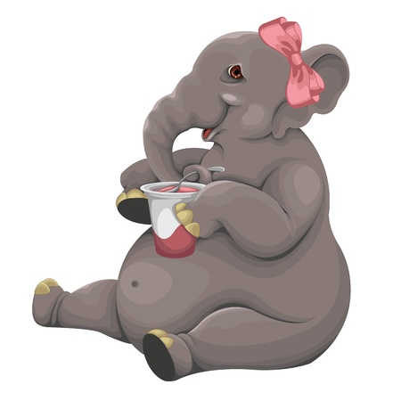 big girls: Elephant eats yogurt vector Illustration