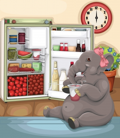 cold storage: Elephant Glutton vector Illustration