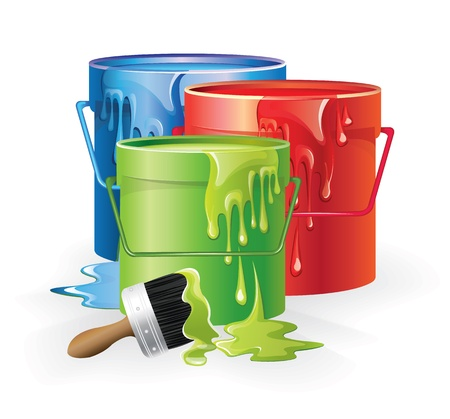 paint container: Cans Of Paint Illustration