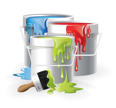 Blanche pots de peinture