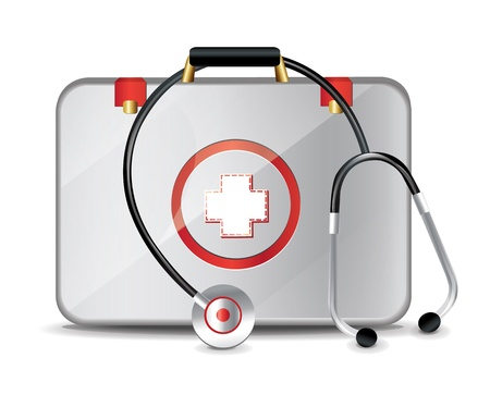 first aid box: Medical Suitcase With Stethoscope