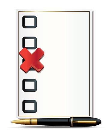 Checkbox Cross Checkmark And Pen Vector