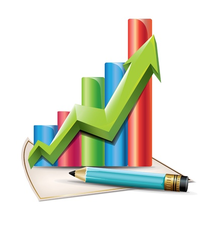 Business Graph with arrow and pen Stock Vector - 19881684