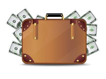 business case: Suitcase full of money Illustration