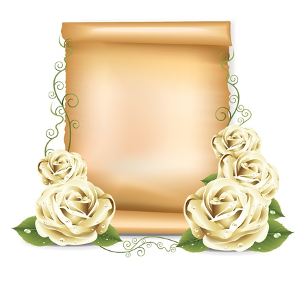 white greeting: White Roses Paper