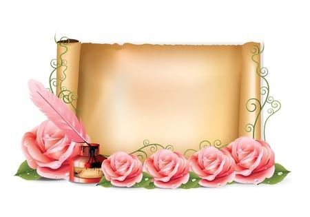 핑크 장미 종이 잉크