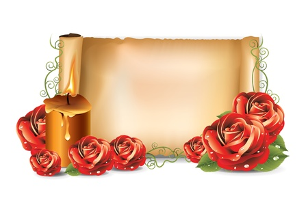 Red roses background candle Vector