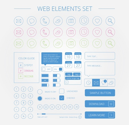 clean web elements set Vector