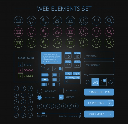 clean web elements set black Stock Vector - 20295017