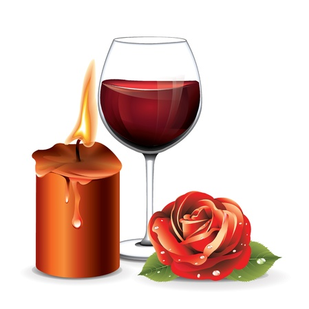 Candle Rose Wine Vector