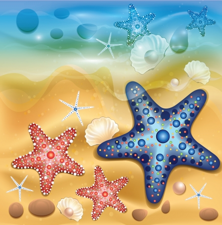 starfish beach: Beach Background Illustration
