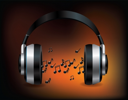 Headphones with notes  Vector