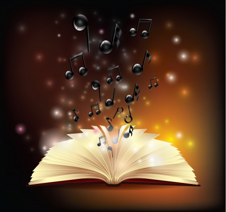 Notizen fliegen aus Buch Illustration