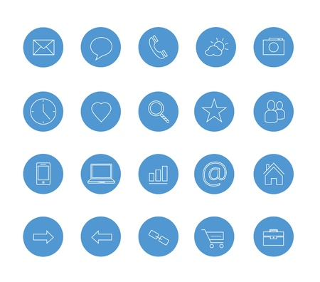 clean icons set blue Stock Vector - 20556741