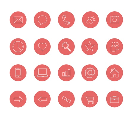 clean icons set red Stock Vector - 20556740