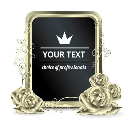gold swirls: Iron Roses banner  Illustration