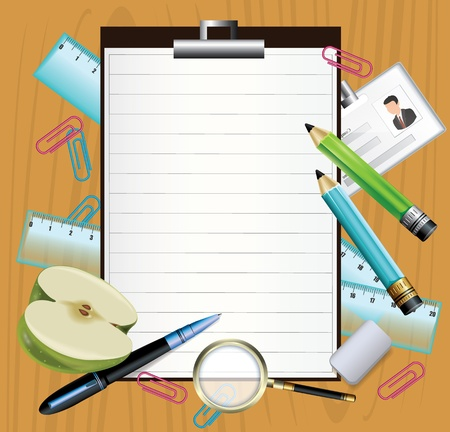 classroom supplies: School subjects background Illustration