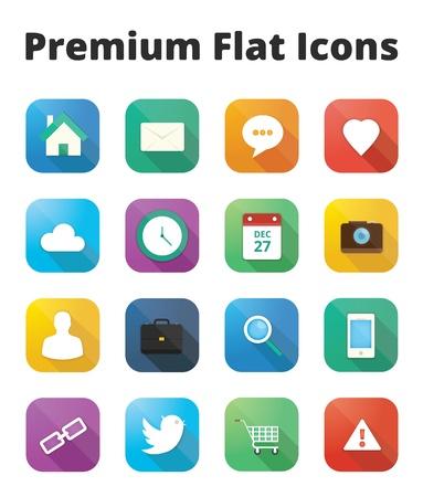 premium flat icons set Stock Vector - 20556781
