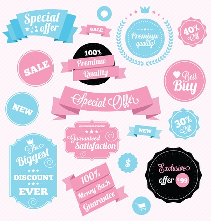 fashion shop stickers and ribbons Vector