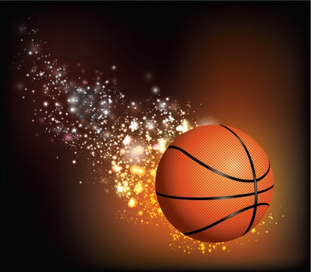 basketball ball on fire: Basket Ball Flies Illustration