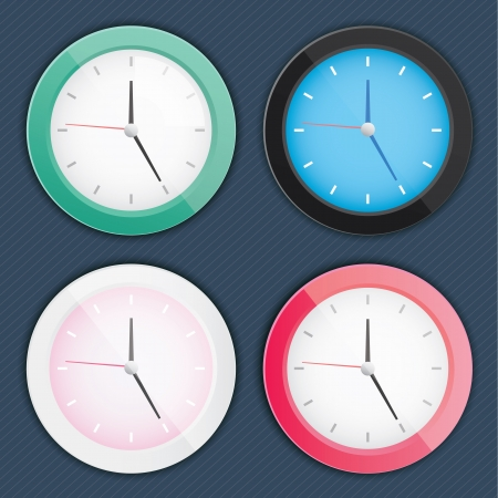 stylish clocks set dark blue background  Vector