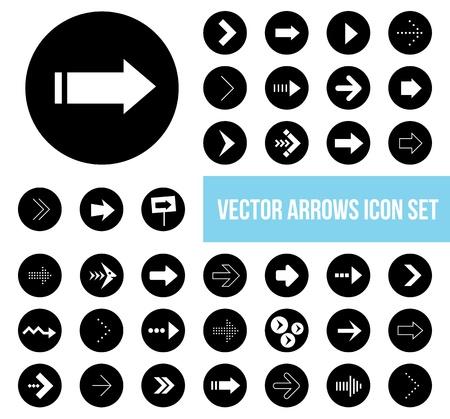 black white arrow icons set  Stock Vector - 20556792
