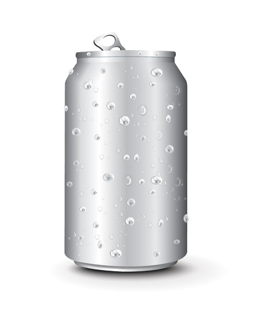 ml: Aluminum Cans Template With Drops Water  Illustration