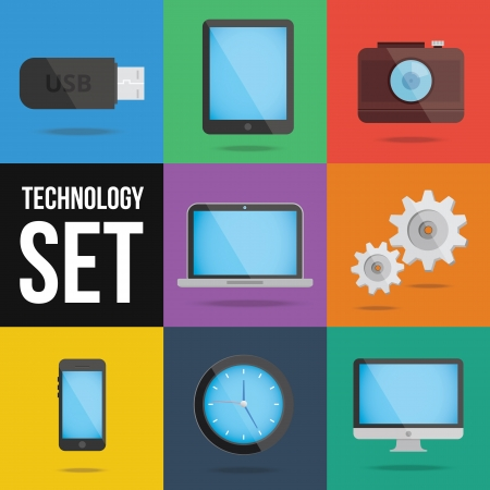 watch gears: technology and devices icons set