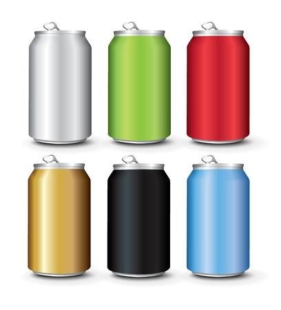 cola canette: Définir la couleur canettes en aluminium modèle Illustration