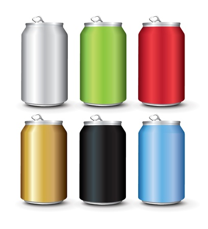 Set Color Aluminum Cans Template Stock Vector - 20747046