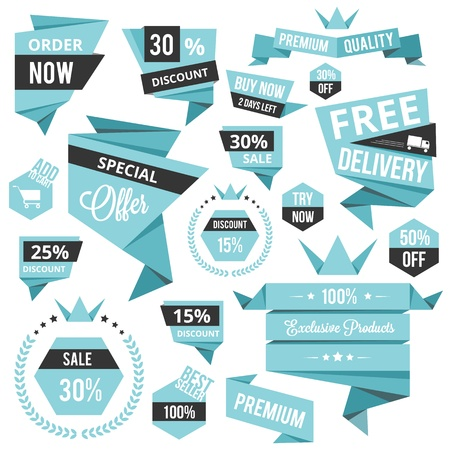 stylish discount sale concept labels and stickers  Illustration