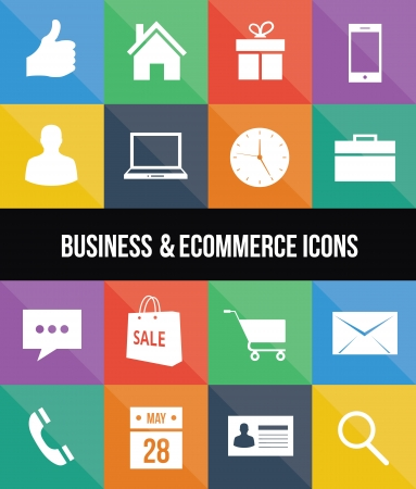 ecommerce icons: stylish colorful business and ecommerce icons