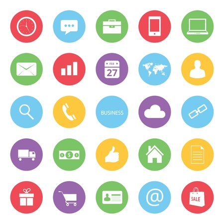 phone time: colorful business and ecommerce icons set
