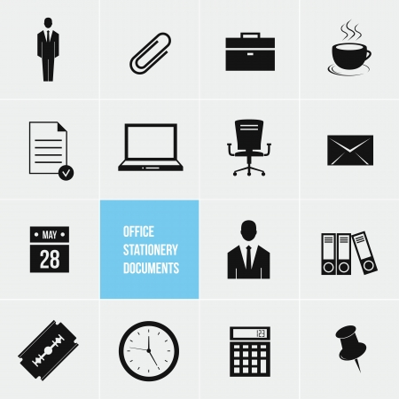 Office Stationery and Documents Vector Icons Set Stock Vector - 20954966