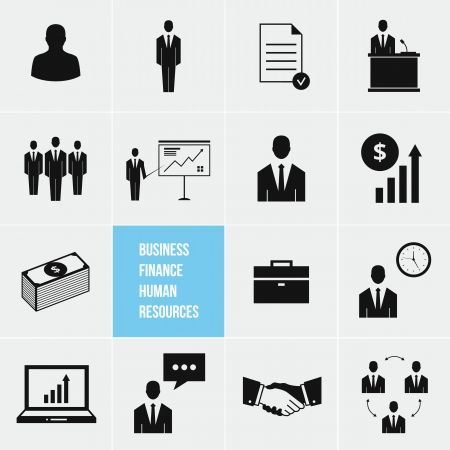 Business Management and Human Resources Vector Icons Set Stock Vector - 20954969