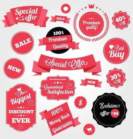 sale banner: Set of Premium Vector Stickers and Ribbons