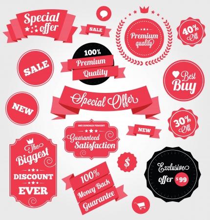 Set van Premium Vector Stickers en Linten Stock Illustratie