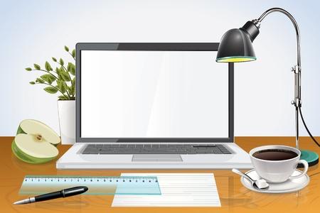 Escritorio con ordenador portátil Foto de archivo - 21075512