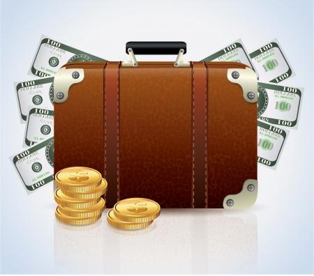 millones: Maleta llena de dinero Vectores
