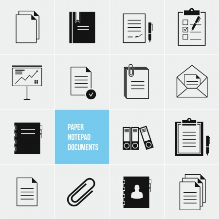 Notepad Paper Documents Icons Set Stock Vector - 21075576