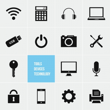 laptop repair: Tools Devices and Technology Vector Icons Set