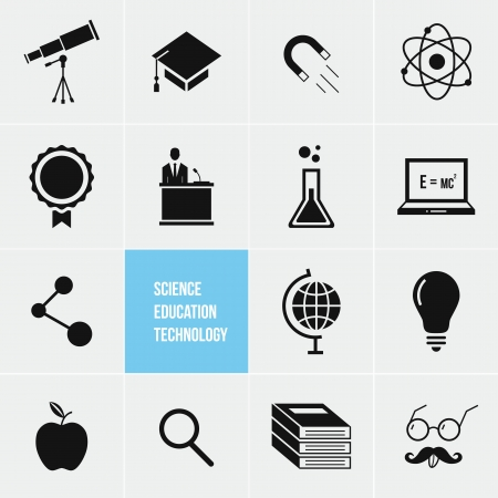 telescope: Science Education and Technology Vector Icons Set