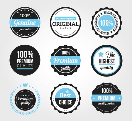ribbon badge: Set of Retro Vintage Badges and Labels Black Blue