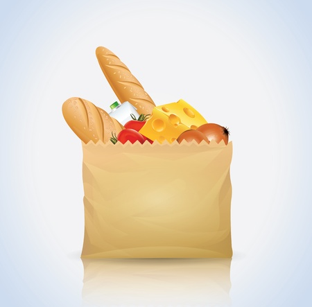 groceries: Paper Bag With Food  Illustration