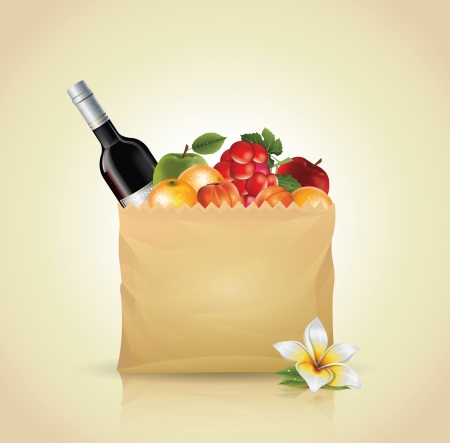 Paper Bag With Fruit  Vector