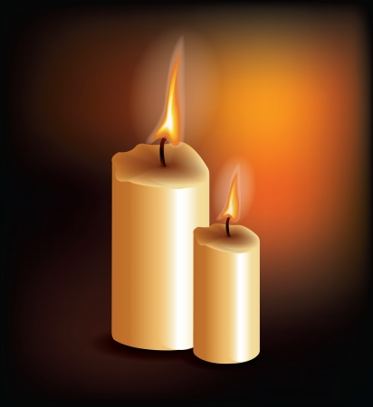 candle flame: Two Candles On Dark Background